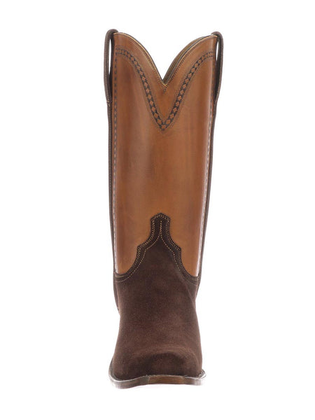 Lucchese N1677.73 Mens Sutton Suede Cowboy Boots Chocolate/Cognac