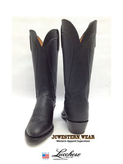 Women's Lucchese 1883 Black Burnished R Toe Cowgirl Boots N4605.R4 Lucchese - J.C. Western® Wear