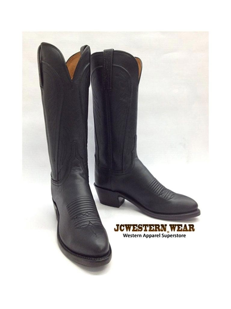 Women's Lucchese 1883 Black Burnished R Toe Cowgirl Boots N4605.R4