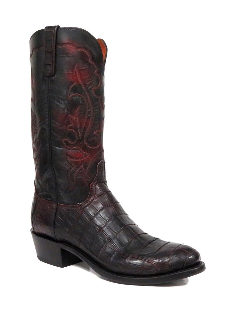 Men's Lucchese 1883 Black Cherry Caiman Boot N9582.R4