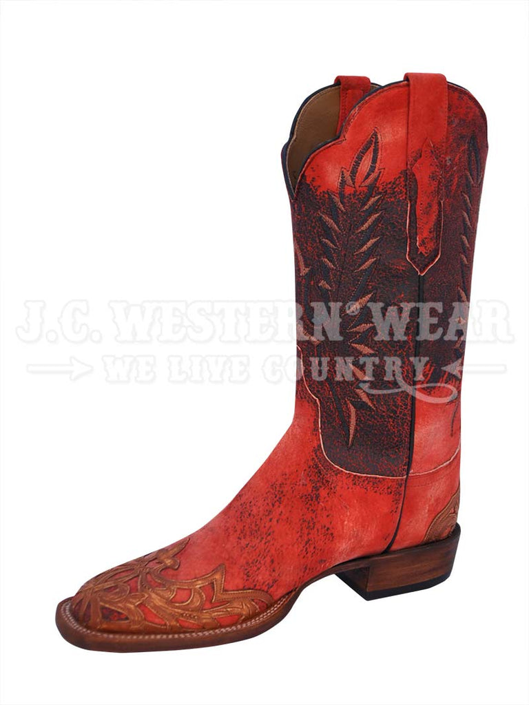 Lucchese Women S Red Hand Tooled Filigree Wingtip Boots Cy2514
