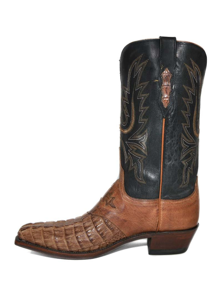 Lucchese N4054.54 Womens Horn Back Caiman Boots Tan Burnished