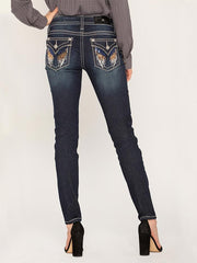 Miss Me M5082S88 Hailey Embellished Shiny Wing Skinny Jeans back