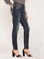 Miss Me M5082S88 Hailey Embellished Shiny Wing Skinny Jeans side