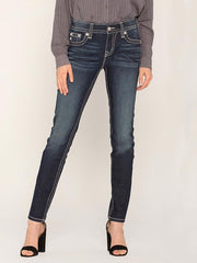 Miss Me M5082S88 Hailey Embellished Shiny Wing Skinny Jeans front