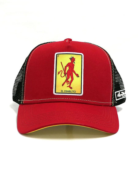 Larry Mahan MCBCDIAB-RED Embroidered El Diablito Mesh Back Cap 2-Tone Front View