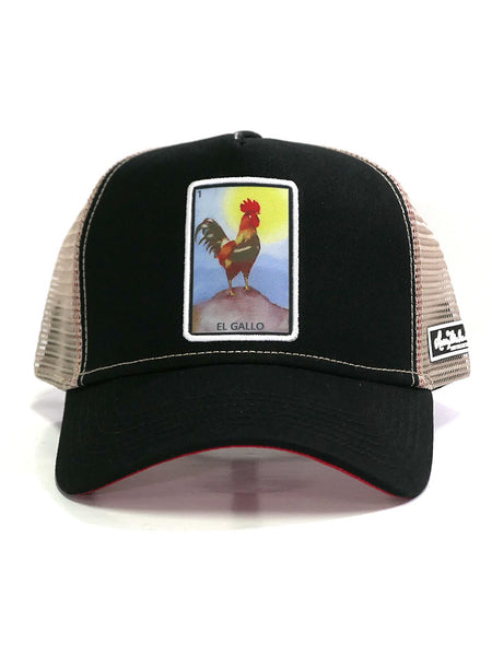 Larry Mahan MCBCGALO-BLK The Rooster Embroidered Mesh Back Cap 2-Tone by Justin Hat