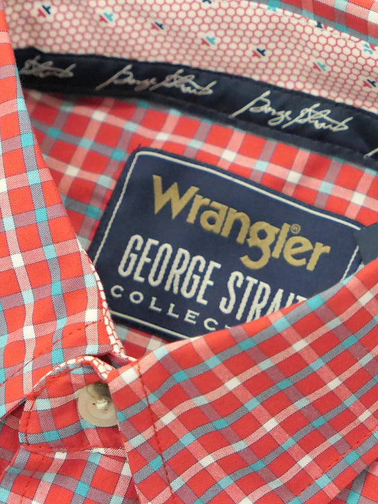 Wrangler MGSR775 Mens George Strait Short Sleeve Plaid Shirt Red tag