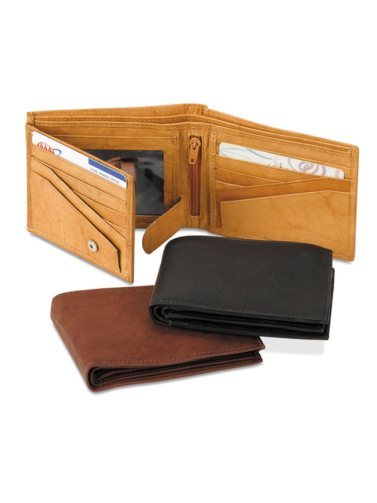 Leather Bi-Fold Wallet WE-MIN-2314 Brown Black Tan