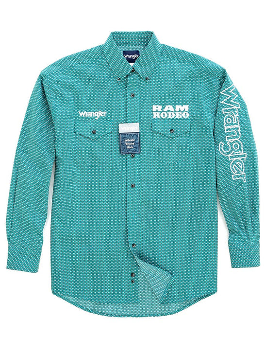 Wrangler MP2350M Mens RAM Logo Rodeo Long Sleeve Shirt Teal Front