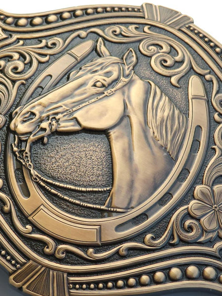 Montana Silversmiths Vintage Bronze Derby Winner Belt Buckle 27700BLB close up