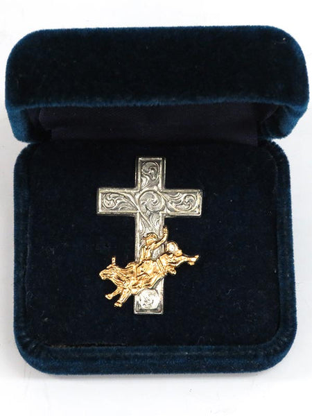 Montana Silversmiths Rodeo and Cross Western Pin P3118 in the box