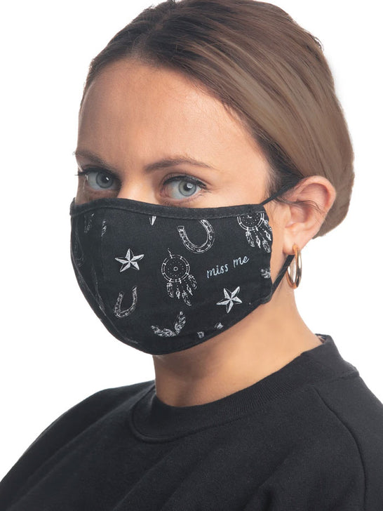 Miss Me MSK1002 Western Dreamy Reusable Washable Face Mask Black MSK1002-BLACK Girl