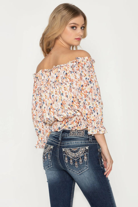 Miss Me MT0988S Womens Floral Print Off The Shoulder Top Multi Back View
