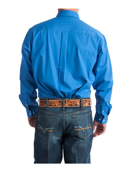 Men's Cinch Long Sleeve Single Pocket Solid Blue Shirt MTW1103799 Cinch - J.C. Western® Wear