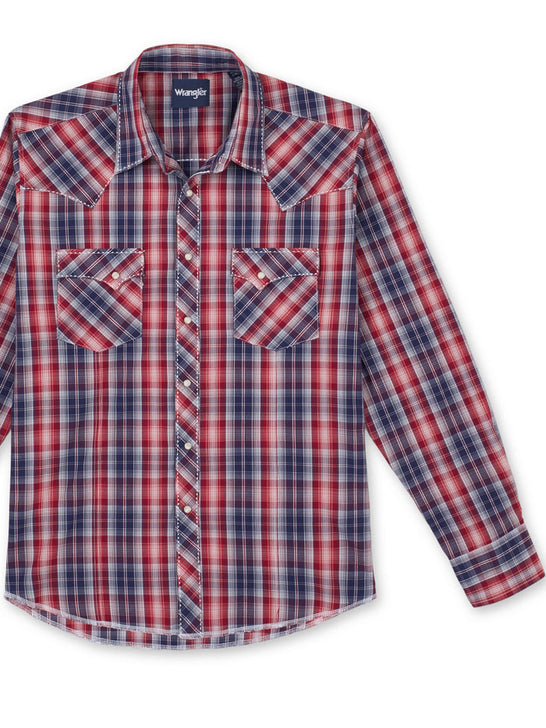 Wrangler MVG295R Mens Fashion Long Sleeve Plaid Snap Shirt Red Front