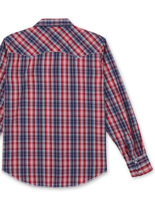 Wrangler MVG295R Mens Fashion Long Sleeve Plaid Snap Shirt Red Back