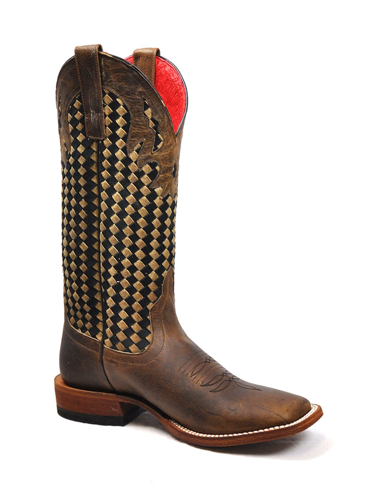 Macie Bean Womens Boot M9075 Chocolate Weave Tan Black Anderson Bean - J.C. Western® Wear