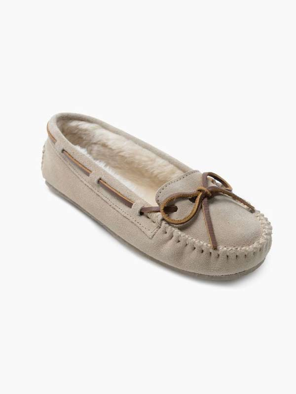 Minnetonka 4018 Women's Cally Soft Suede Leather Slippers Stone
