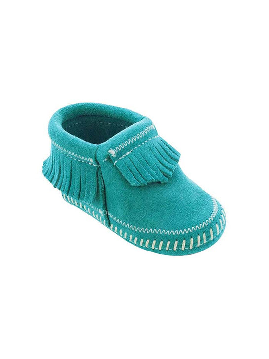 Minnetonka 1166 Infant's Riley Suede Bootie Turquoise