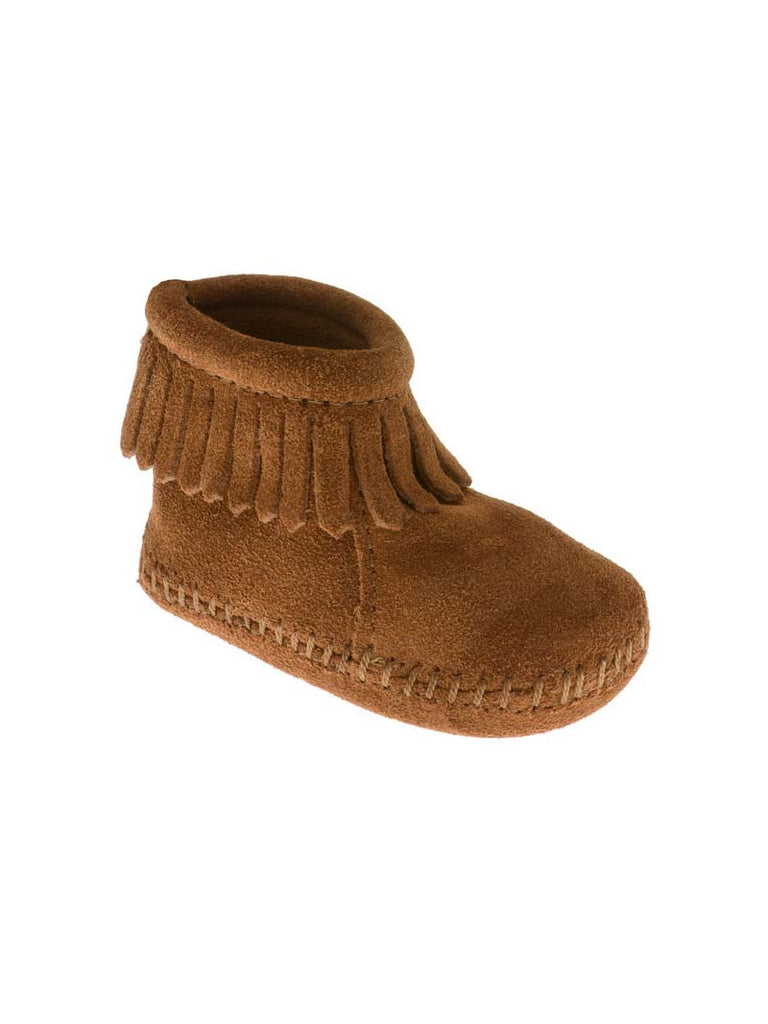 Minnetonka 1182 Infant's Suede Back Flap Bootie Brown