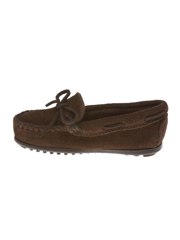 Minnetonka 2773 Kid's Suede Leather Sporty Moccasin Chocolate