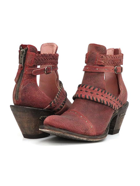 Miss Macie Womens I DareYou Distressed Leather Booties U8012-01 front and back