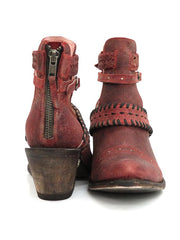 Miss Macie Womens I DareYou Distressed Leather Booties U8012-01 front and back at JC western wear