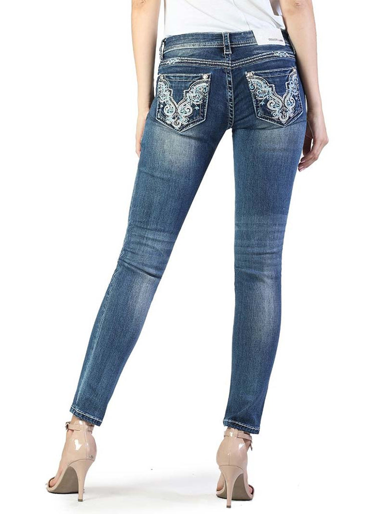 Grace in LA Embellished Pockets Medium Blue Skinny Jeans JNW51218
