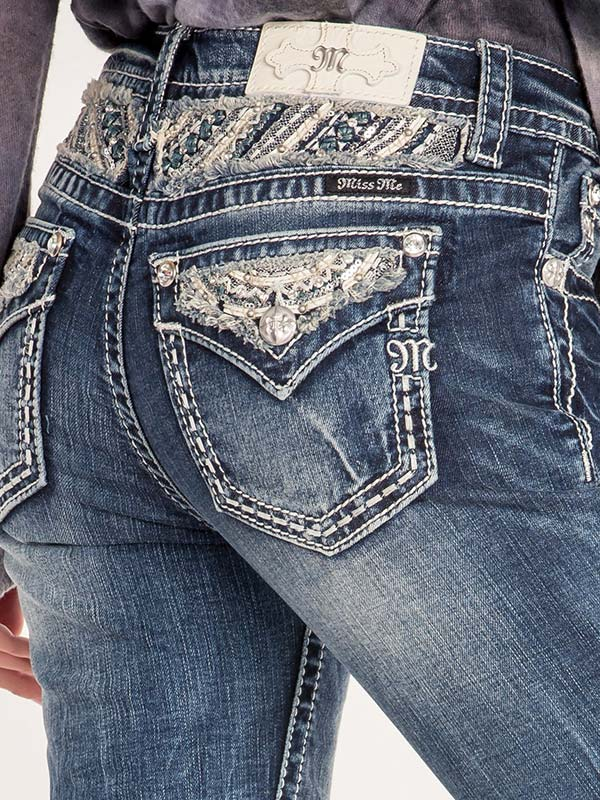 Miss Me Juniors Embellished and Frayed Mid-Rise Boot Cut Jeans