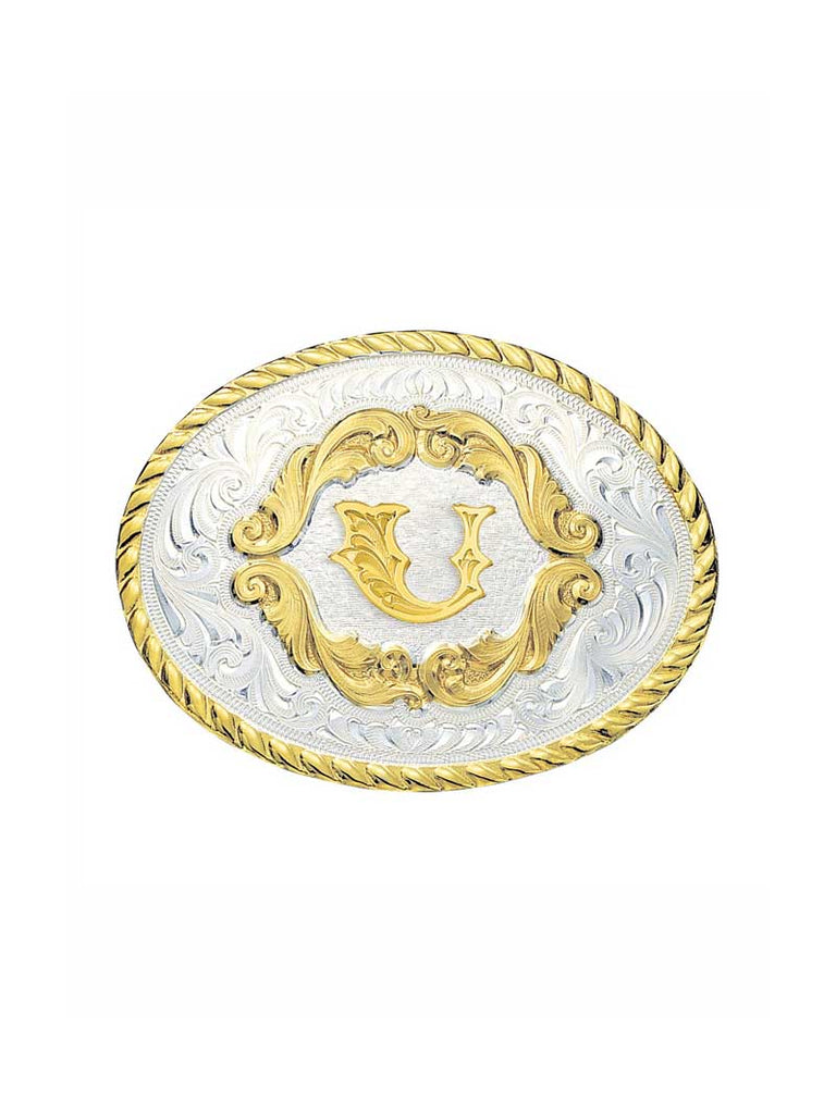 Montana Silversmiths Initial Gold Filigree Western Belt Buckle 5000A (Small) dISPLAY