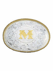 Montana Silversmiths Initial Silver Engraved Gold Trim Western Belt Buckle 700A (Large) Montana Silversmiths - J.C. Western® Wear