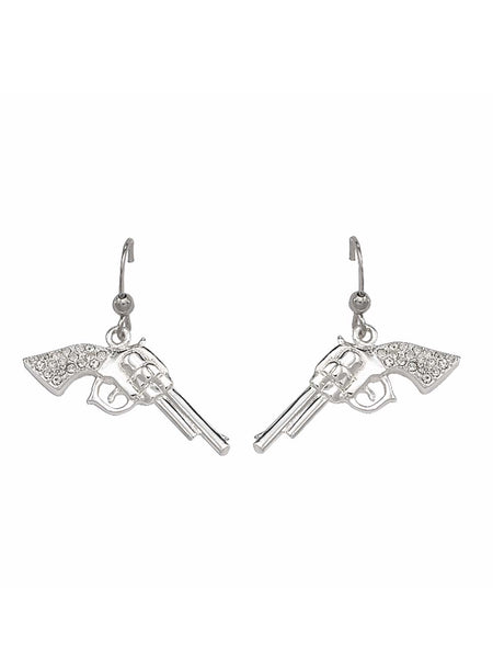 Montana Silversmiths Cowgirl Pistols Rhinestone Handle Drop Earrings ER61242