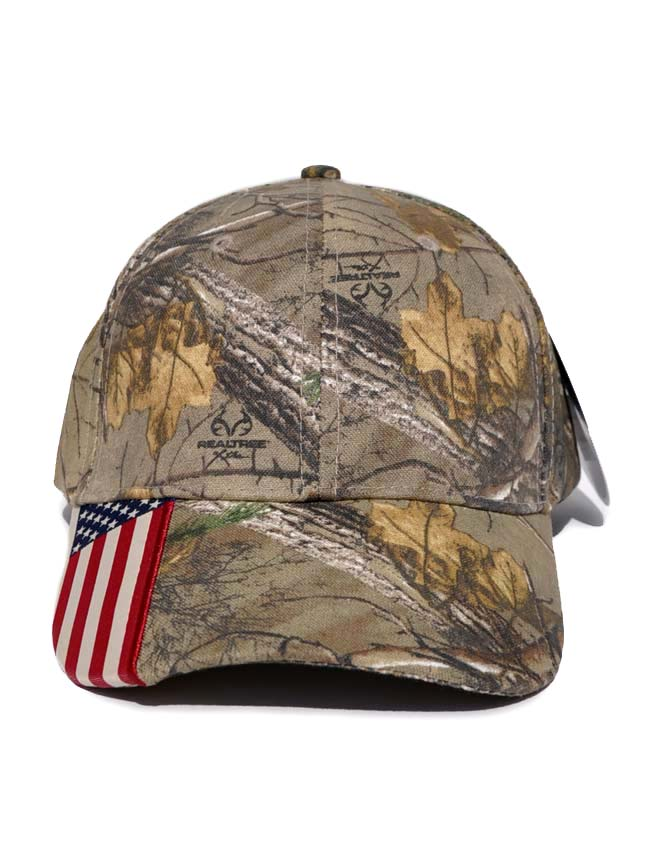 Mossy Oak Real Tree Hunting Camo USA Flag Cap 931809 Mossy Oak - J.C. Western® Wear