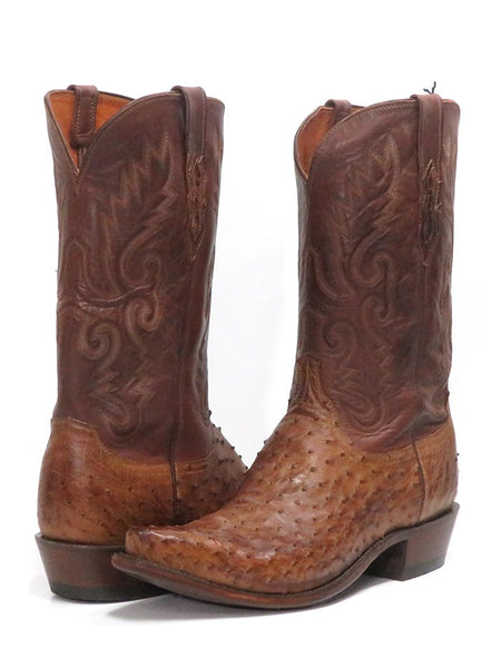 Lucchese N1062.54 Mens Pin Ostrich Cowboy Boots Barnwood Burnished