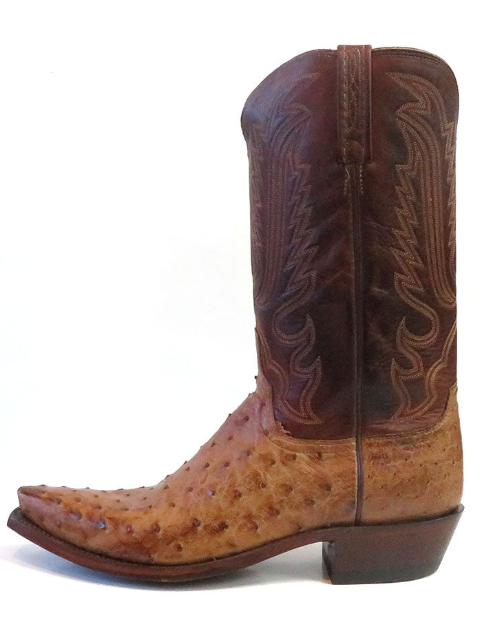 Lucchese N1156.53 Mens LUKE Full Quill Ostrich Boots Barnwood made in USA