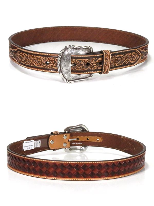 Nocona N210000502 Mens Basketweave Pattern Western Belt Brown
