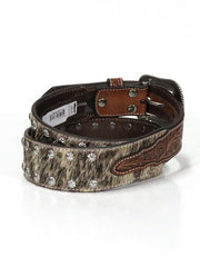 Nocona N210001502 Mens Calf Hair Multi-Stud Engraved Belt Brown Back