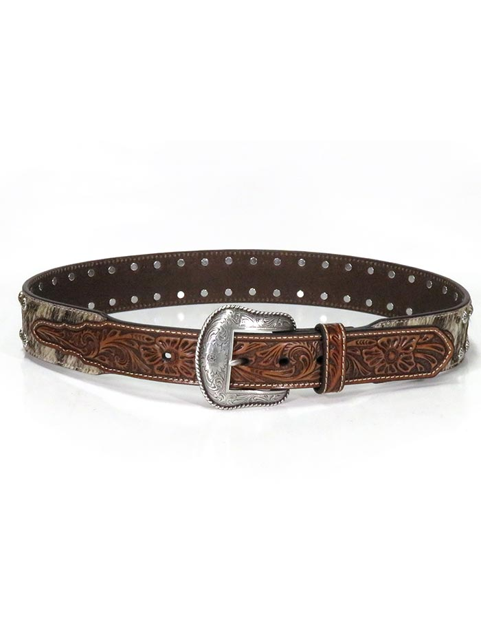 Nocona N210001502 Mens Calf Hair Multi-Stud Engraved Belt Brown Western Belts