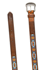 Nocona Mens Embossed Beaded Inlay Western Belt N2412808