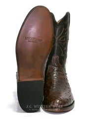 Lucchese N3040.C2 Mens HUDSON Full Quill Ostrich Cowboy Boots Chocolate Sole and Front View