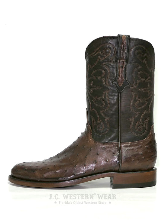 Lucchese N3040.C2 Mens HUDSON Full Quill Ostrich Cowboy Boots Chocolate Side View
