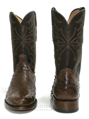 Lucchese N3040.C2 Mens HUDSON Full Quill Ostrich Cowboy Boots Chocolate Front and Back