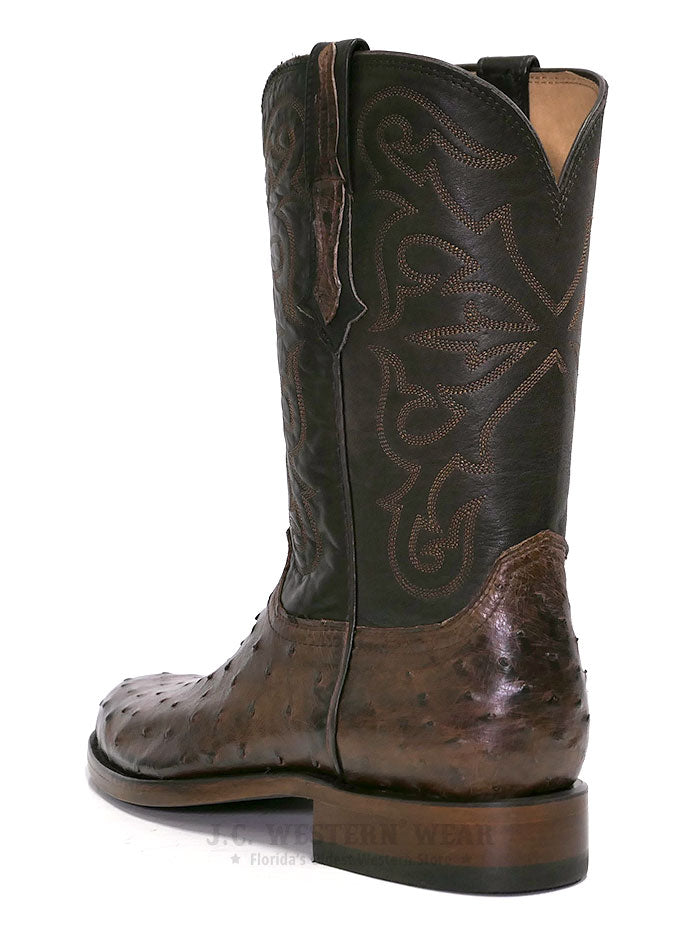 Lucchese N3040.C2 Mens HUDSON Full Quill Ostrich Cowboy Boots Chocolate on Display at JC Western Wear in Florida