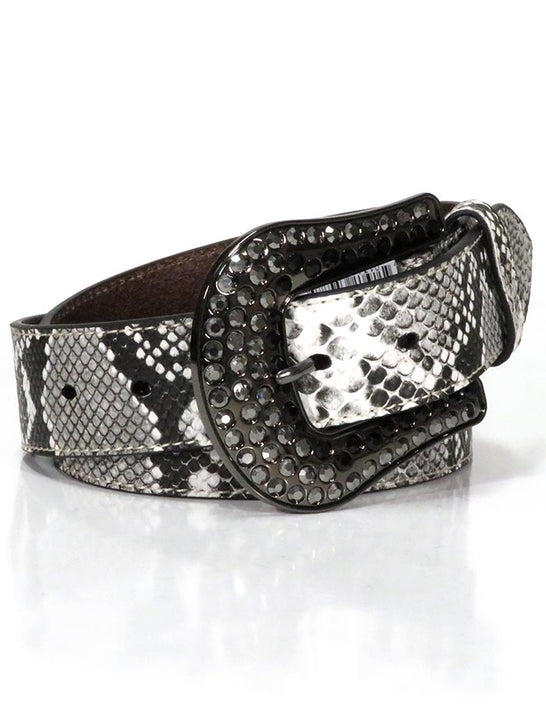 Nocona N320001562 Ladies Snake Skin Print Genuine Leather Belt Natural