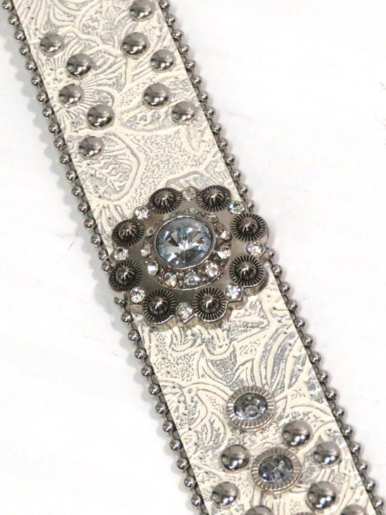 Blazin Roxx N3516636 Womens Silver and Rhinestones Conchos Belt White
