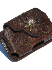 Nocona Western Brown Leather Belt Clip Phone Holder 0686402