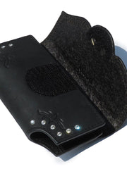 Nocona Western Black Leather Crystal Stud Phone Holder 0686601