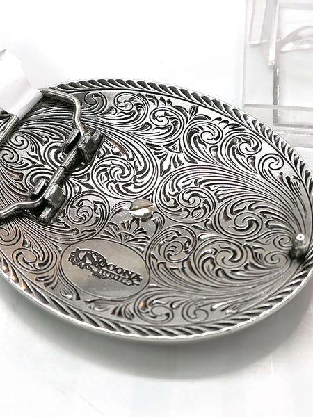 Nocona 37709 Oval Rope Edge Scroll Buckle with Vntage Saddle Bronc Motif Buckle