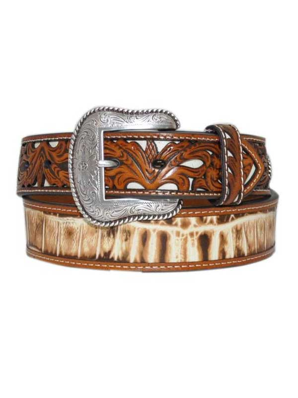Nocona Men's White Croc print Genuine Leather Belt N2410508
